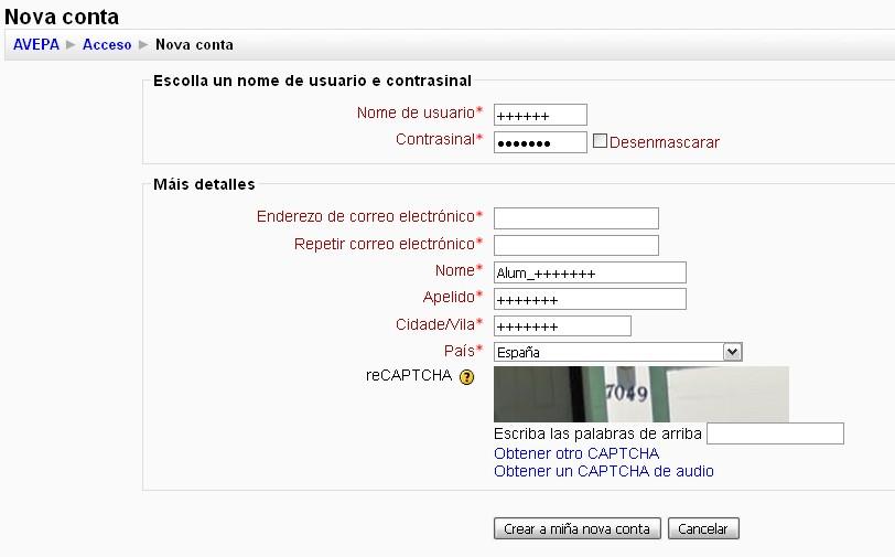 Páxina de rexistro aula virtual